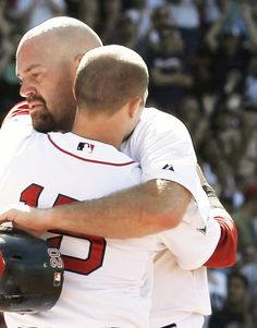 Kevin Youkilis and Dustin Pedroia when Youk found out he was traded to the White Sox. 06/12