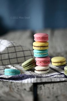 macarons.  Lovely DOF on this image of colorful macarons.