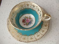1930's Ansley Turquoise Blue & Gold English Bone China Tea Cup and Saucer
