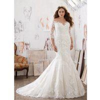 2017 Plus Size Vestidos de Casamento Da Sereia Mangas Três-Quartos Apliques Organza vestido de Noiva Vestido De Novia Branco Marfim