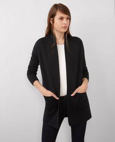 Cardigan mi-long en laine