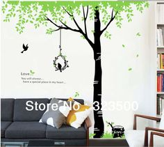 Removeable Wall Sticker Romance Under the Tree with Love Birds Nest Green Leaves Home Decor for Living Dinner or Bed Room-in Wall Stickers f...