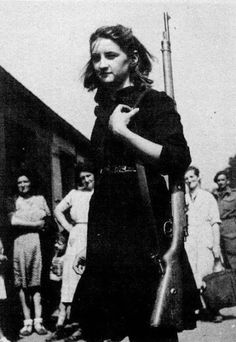 Another hero of the French Resistance during World War II and decorated for saving the lives of U.S. soldiers shot down behind enemy lines was Micheline Blum-Picard. Only eighteen-years-old when she first became involved in the Resistance, Blum-Picard started by carrying messages taped to her back and then progressed to photographing inside factories damaged by bombing raids  By D-Day, however, she was carrying a rifle, a pistol, and a hand grenade wherever she went.