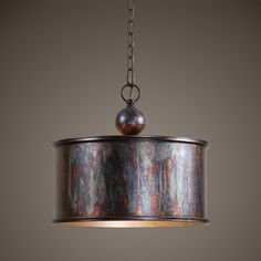 Complex tonalities of metallic oxidation enrich the rustic, industrial-inspired design of this Albiano single-light pendant. The lighting fixture features a metal shade with a Light Bronze finish. Farmhouse Kitchen Lighting, Farmhouse Chandelier, Kitchen Lamps, Kitchen Chandelier, Kitchen Pendants, Copper Kitchen, Country Kitchen, Elk Lighting, Pendant Lighting