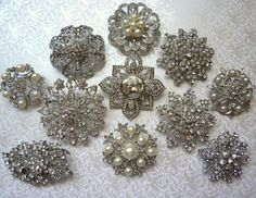 8 pc. Brooch Large Ex-Large Silver Pewter Crystal Rhinestone Brooches Wedding Brooch Bouquet Wedding Invitations Dress Sash