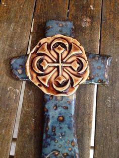 Midnight Blue Rustic Cross on Etsy #handmade crosses #ceramiccrosses #potterycrosses