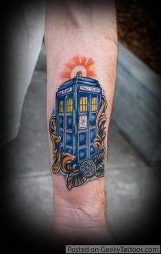 A true Whovian bears this - Doctor Who TARDIS Tattoo! ***** @saja carpenter we need a dr who tat!!