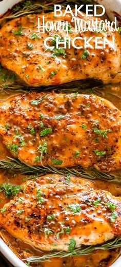 Baked Honey Mustard Chicken - Honey-mustard smothered over tender chicken breasts and baked to a succulent perfection. A delicious baked chicken dinner that's very easy to make and it's wholesome! for dinner easy chicken Baked Chicken Tenders, Easy Baked Chicken, Baked Chicken Breast, Baked Chicken Recipes, Beef Recipes, Cooking Recipes, Healthy Recipes, Chicken Breasts, Orange Chicken Breast Recipe