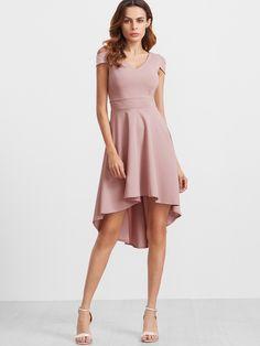 Shop Pink Deep V Back Cold Shoulder Flare High Low Dress online. SheIn offers Pink Deep V Back Cold Shoulder Flare High Low Dress & more to fit your fashionable needs.