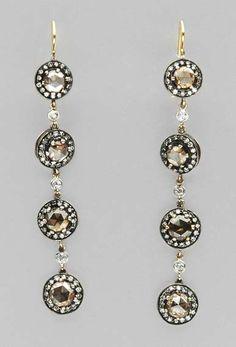Pair of Brown Diamond and Diamond Pendant-Earrings   Silver, gold, rose-cut brown diamonds, ap. 4.8 dwt.