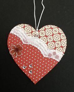 Decoupaged 10cm hanging heart (burgundy) £3.50