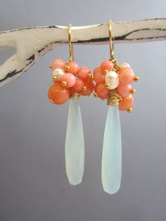 Long faceted Aqua Chalcedony earrings coral pearl by Muse411, $54.00