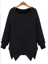 Black Loose Rib Style Online Sweater with Asymmetry Hemline