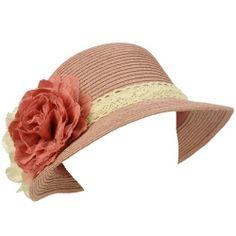 UPF 50+ Ladies Summer 2 Flowers Lace Cloche Bell Bucket Sun Hat Cap 57cm Pink