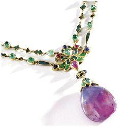 An Art Nouveau necklace by Louis Comfort Tiffany of Tiffany Co. circa Champlevé enamel emeralds and a remarkable sapphire drop. Bijoux Art Nouveau, Art Nouveau Jewelry, Jewelry Art, Antique Jewelry, Gold Jewelry, Jewelery, Vintage Jewelry, Fine Jewelry, Jewelry Design