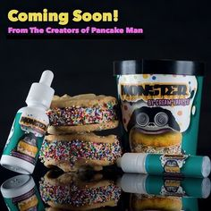 From the creators of Pancake Man comes @creamvapeco and their new flavor Monster you get 30ml of Rainbow Sprinkle covered Cookie Dough ice cream sandwiched between Macadamia Nut  cookies You also get 1 spare 15ml unicorn bottle and each Monster package  contains a cut out coupon when you return 9 cut out coupons with a valid copy of your ID to @creamvapeco then you get a free bottle of Monster Tag your local shop if you want to be one of the first to try Monster by @creamvapeco For wholesale…
