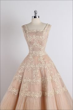 Vintage 1950s Ceil Chapman Nude Organza Lace Party Dress at 1stdibs