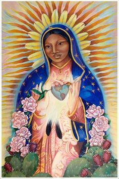 Today December 12 all over Mexico there are huge celebrations for the Virgin of Guadalupe or Tonantzin, Cuatlicue (her true name in Nuhuatl the Aztec dialect). Tonantzin is Mother Earth. Divine Mother, Blessed Mother Mary, Blessed Virgin Mary, Santa Maria, Sacred Feminine, Divine Feminine, Mexican Folk Art, Sacred Art, Christian Art