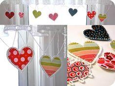 crochet and fabric heart garland