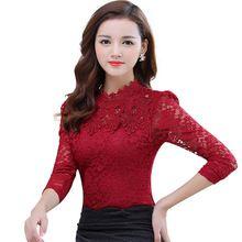 2016 de Inverno Mulheres Outono Tops Moda Blusa de Renda Manga Longa Corpo magro Floral Camisa Elegante Plus Size Lace Top blusas femininas(China (Mainland))