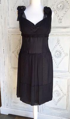 Miu Miu by Prada Black Silk Summer Dress Size M/UK 12 Wedding/Occasion