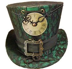 *MAD HATTER ~ 'Steampunk madhatter Hand made green/black lace Top Hat' on Wish, check it out! Steampunk Cosplay, Viktorianischer Steampunk, Steampunk Wedding, Steampunk Clothing, Steampunk Fashion, Gothic Fashion, Style Fashion, Emo Fashion, Steampunk Images