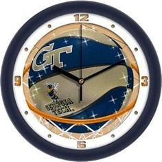Georgia Tech GT Glass Wall Clock