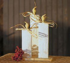 Wood Christmas Candles - Rustic Christmas Decor: