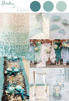 shades of green colors inspired beach wedding ideas 2015