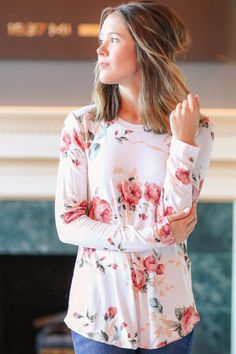 Fall floral long sleeved tee