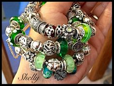 Fabulous greens by Shelly Pandora Bracelets, Pandora Jewelry, Pandora Charms, Pandora Story, Pandora Collection, Scarf Jewelry, Jewellery, Pandoras Box, Bracelet Designs