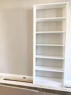 Ideas to turn your basement into an amazing Basement Bedroom Ikea Bookshelf Hack, Billy Bookcase Hack, Built In Bookcase, Bookshelves, Billy Bookcases, Living With Landyn, Billy Regal, Ikea Built In, Ikea Cabinets