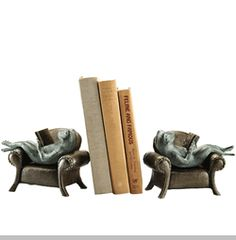 Frogs Reading on Sofa Bookends  (Pair)