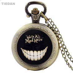 TIEDAN Hot výprodej byl všechno šílený zde Design Antique Bronze Steampunk  kapesní hodinky pro muže Vintage 0e12fe4f471