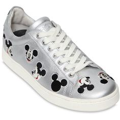 10MM DISNEY METALLIC LEATHER SNEAKERS ❤ liked on Polyvore featuring shoes, sneakers, disney, leather trainers, leather sneakers, metallic leather shoes and leather footwear