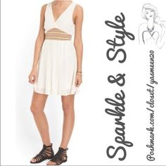 Cute summer ivory dress Cute short embroidered ivory dress!  V- line front and back. Dresses