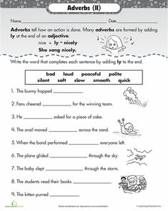 Get acquainted with -ly adverbs by transforming adjectives into adverbs, then plugging them into sentences. Grammar And Punctuation, Teaching Grammar, Grammar Lessons, Teaching Writing, Teaching English, Student Teaching, English Teachers, Writing Skills, English Grammar Worksheets