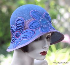 """1920s Vintage Style Summer #Cloche #Hat Wide Brim for Summer Royal Blue """"So Modern to wear Vintage"""" - see Vintage Collections online at #Ebay Store - My My My Atlanta or Follow us on Facebook at My My My Atlanta and @MyMyMyATL on Twitter - #Vintage #Couture #Dress #Runway #Designer #Avant #Garde #Unique #Clothing #Jewelry and #Accessories"""