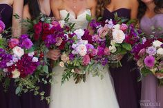 Coordinating #bouquets and multi-hued #bridesmaids gowns make the ultimate style statement. #wedluxe