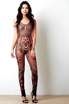 2c37dbae43c1 Description This jumpsuit features a colorful tribal print throughout