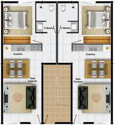 Porch House Plans, Duplex House Plans, Apartment Floor Plans, Bedroom Floor Plans, Small House Plans, House Floor Plans, Apartment Layout, Apartment Design, Duplex Design