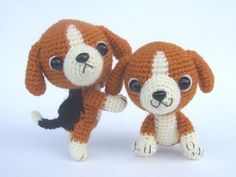 crochet beagle puppies - amigurumi - the real reason I want to learn how to crochet  :)