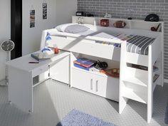 New Hochbett JULI mit Schreibtisch und Regal Holz Kiefer grau xcm g nstig online kaufen Dannenfelser Kinderm bel Kinderzimmer Pinterest