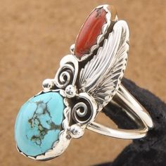 Navajo Jewelry - Turquoise and Coral Ring - Alltribes.com