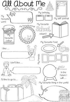 All About Me Worksheet (First Day of School Activity