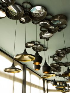 Beat Lights by Tom Dixon  Like the ceiling treatments