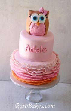 Pink & Orange Ombre Ruffles Owl Cake + Buttercream Ruffles Smash Cake. Visit RoseBakes.com for more pictures and details!
