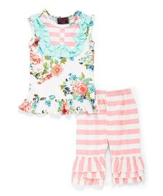 Take a look at this Pink & Mint Floral Stripe Sleeveless Top & Ruffle Shorts - Infant, Toddler & Girls today!