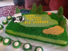 Golf Course & golf ball cupcakes - Everything is bc except the letters and golf balls are white choc.