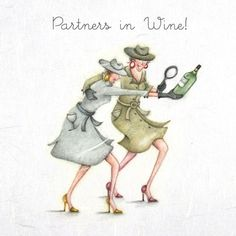 """Cards """"Partners in Wine""""- Berni Parker Designs ღ✟ Happy Friendship Day, Friendship Quotes, Free To Use Images, Crazy Friends, Art Impressions, Happy Birthday Images, Illustrations, Illustration Art, Cards For Friends"""